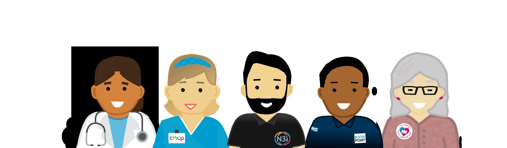 N3i Cartoon characters. Doctor, Nurse, N3i Engineer, TOP Engineer, Patient